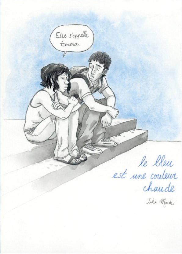 Illustration : 'Le bleu est une couleur chaude'. Julie Maroh. Glénat.